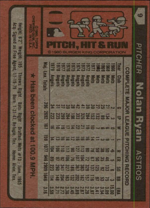 1980 Burger King Pitch/Hit/Run #9 Nolan Ryan */Houston Astros back image