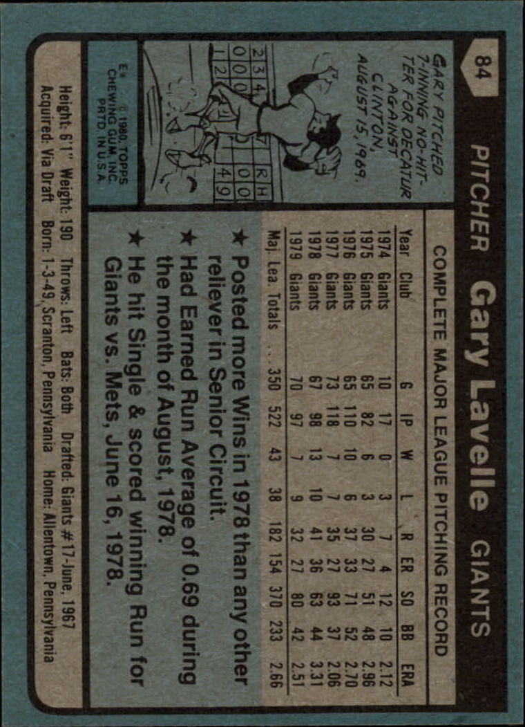 1980 Topps #84 Gary Lavelle back image