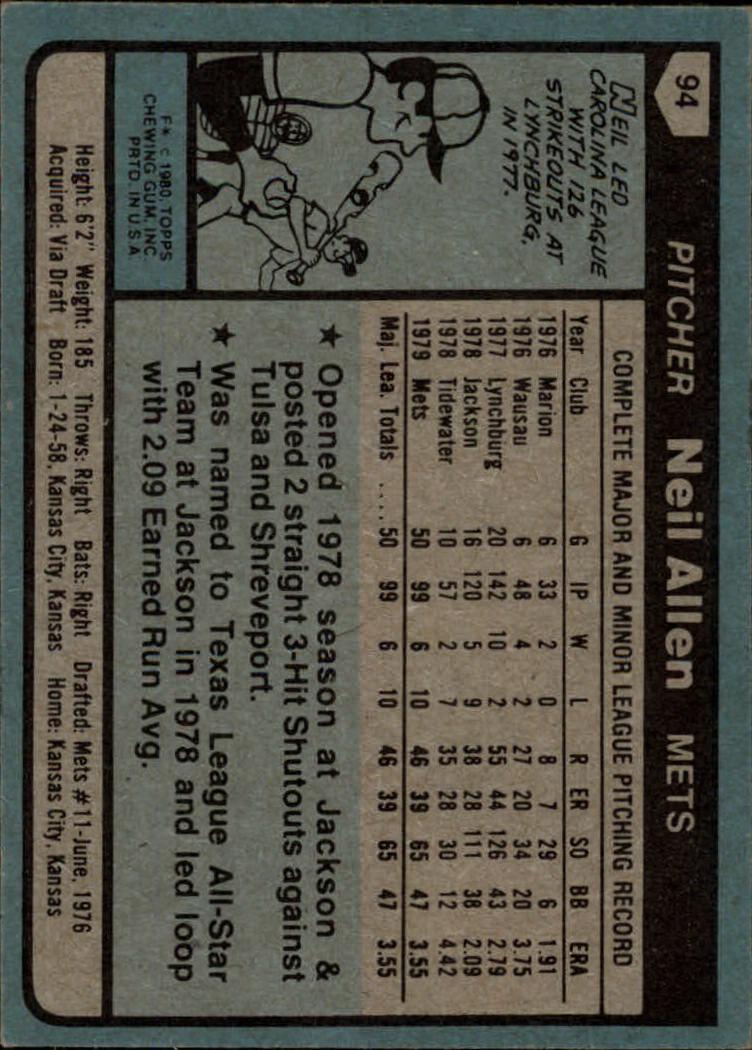 1980 Topps #94 Neil Allen RC back image