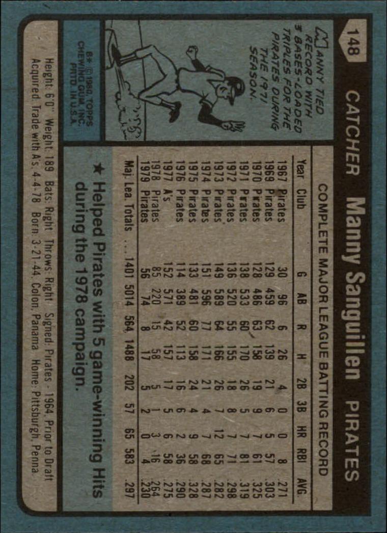1980 Topps #148 Manny Sanguillen back image