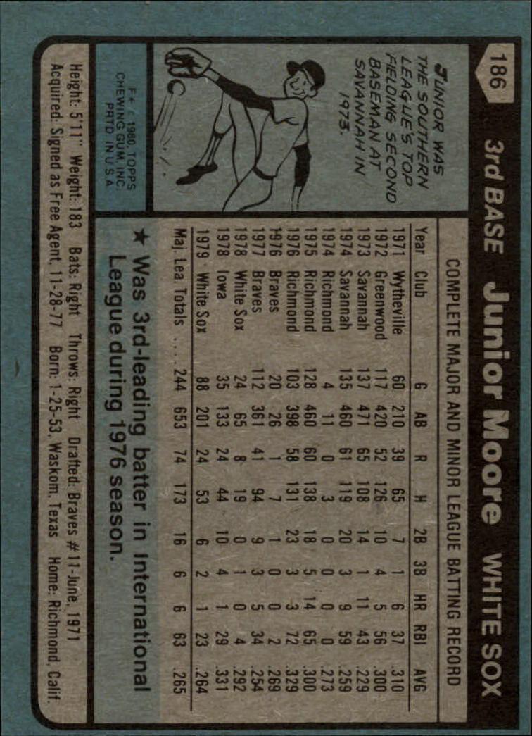 1980 Topps #186 Junior Moore back image