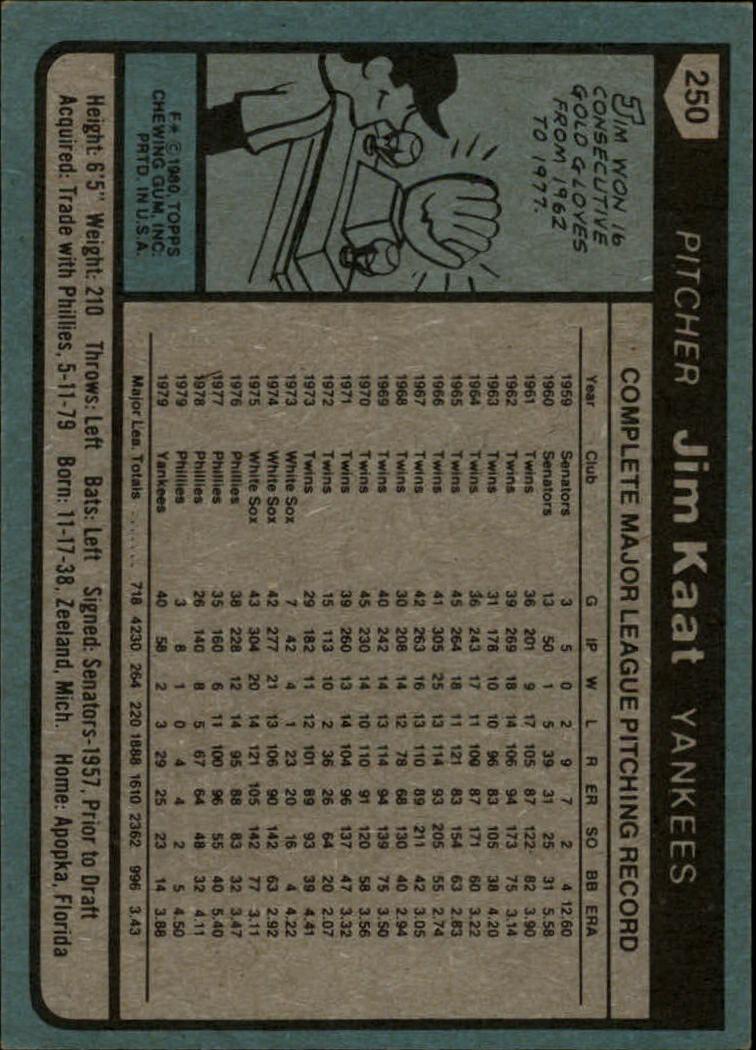 1980 Topps #250 Jim Kaat back image