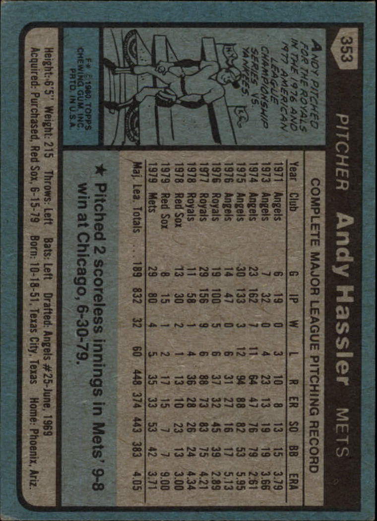 1980 Topps #353 Andy Hassler back image