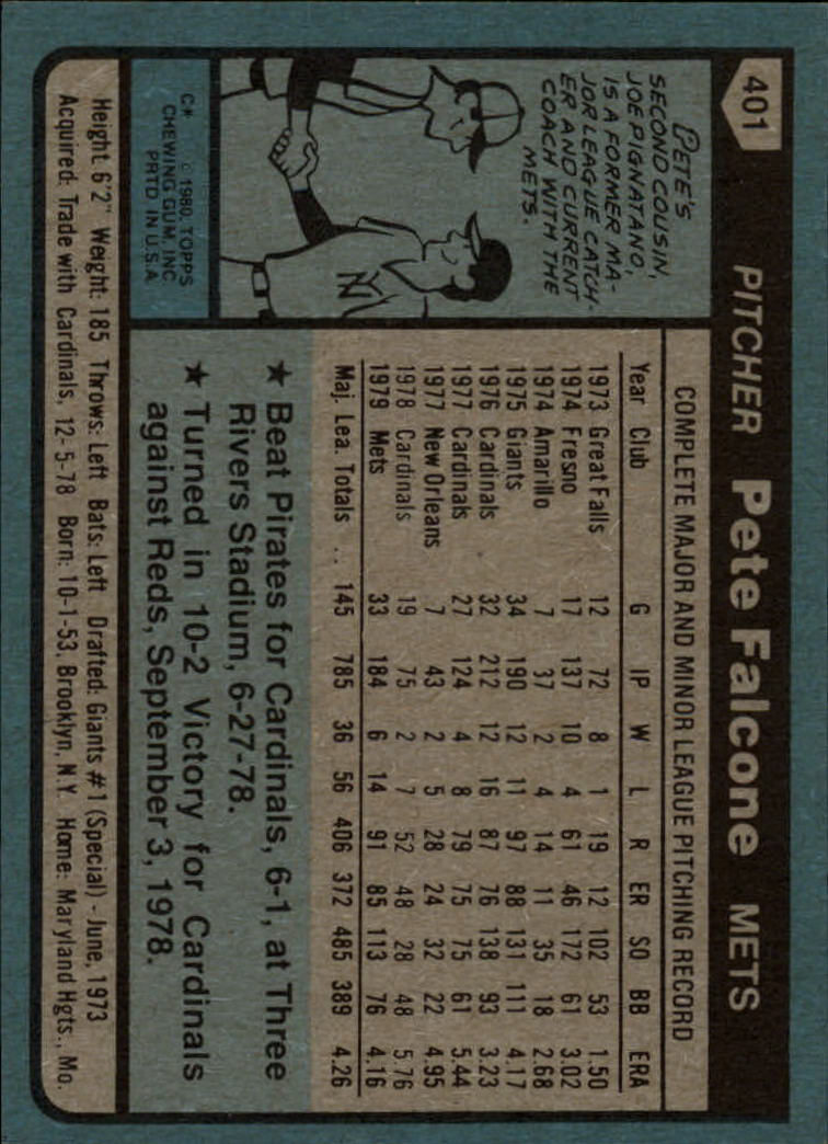 1980 Topps #401 Pete Falcone back image