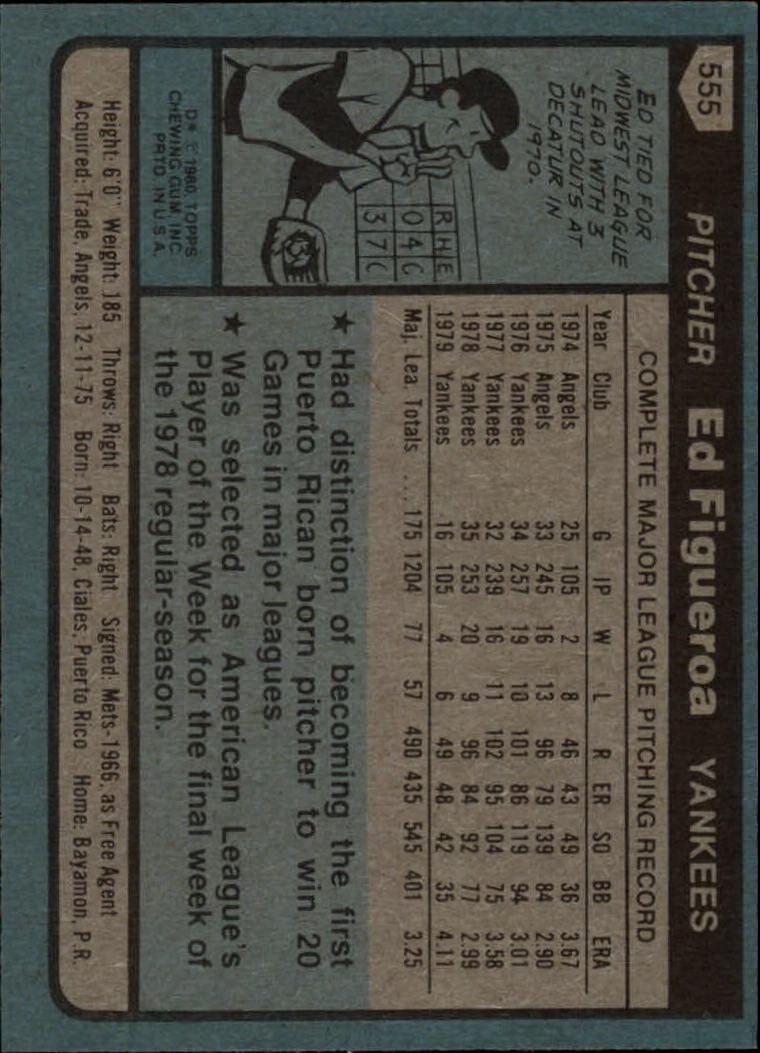 1980 Topps #555 Ed Figueroa back image
