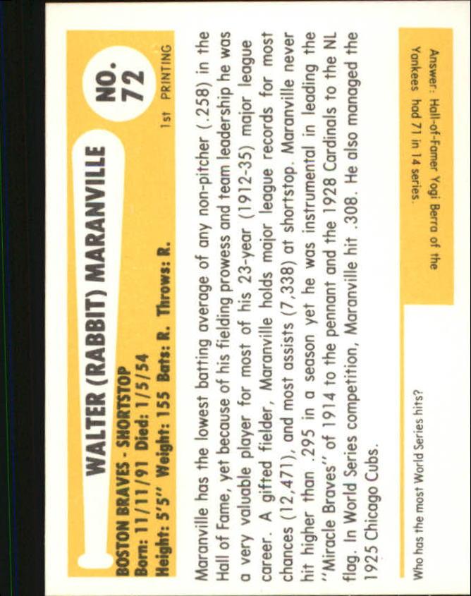 1980-87 SSPC HOF #72 Rabbit Maranville back image