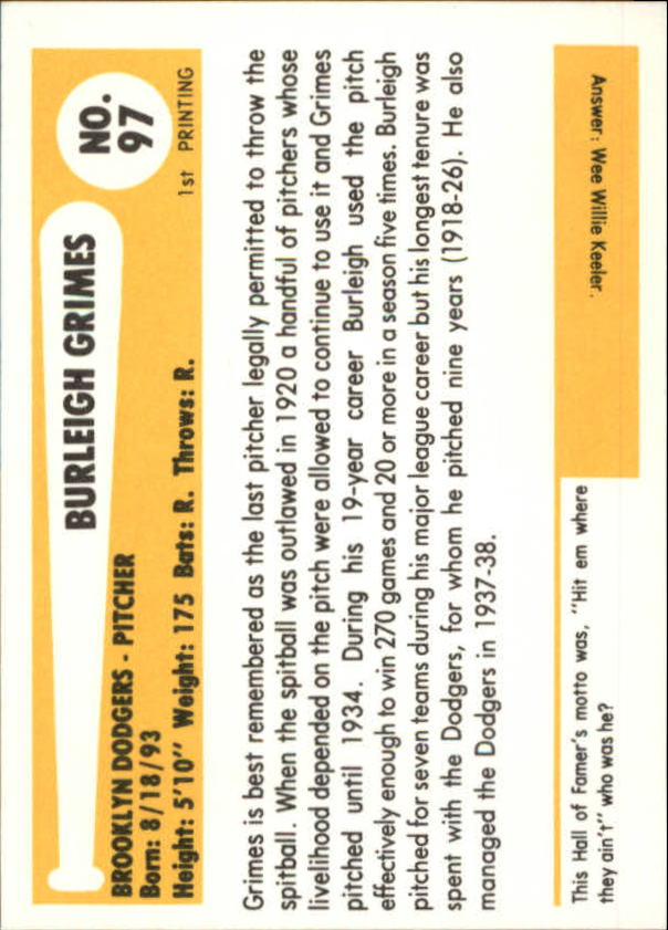 1980-87 SSPC HOF #97 Burleigh Grimes back image