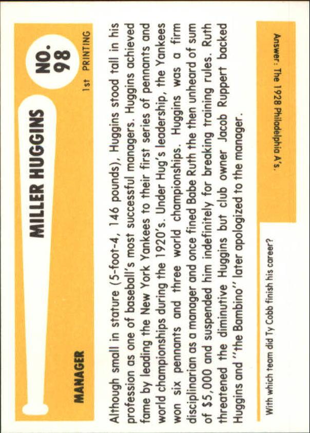 1980-87 SSPC HOF #98 Miller Huggins back image