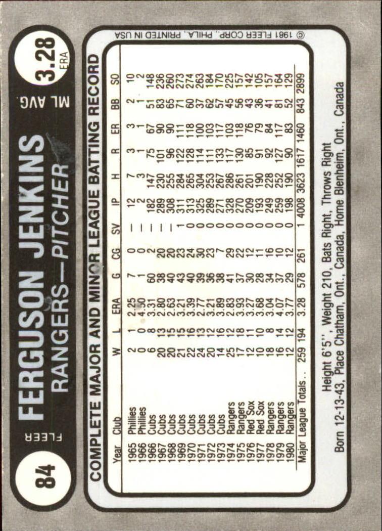 1981 Fleer Star Stickers #84 Ferguson Jenkins back image