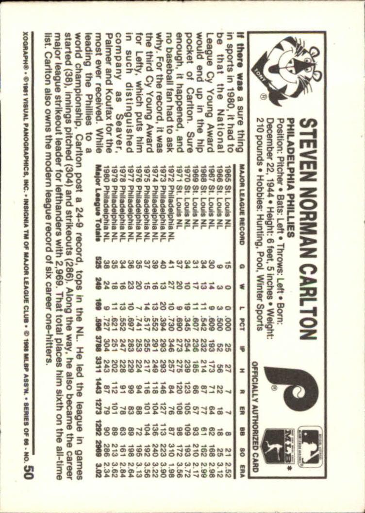 1981 Kellogg's #50 Steve Carlton back image