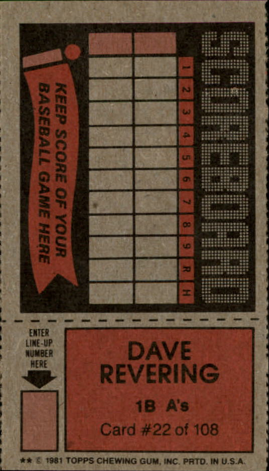 1981 Topps Scratchoffs #22 Dave Revering back image