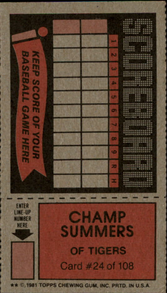 1981 Topps Scratchoffs #24 Champ Summers back image