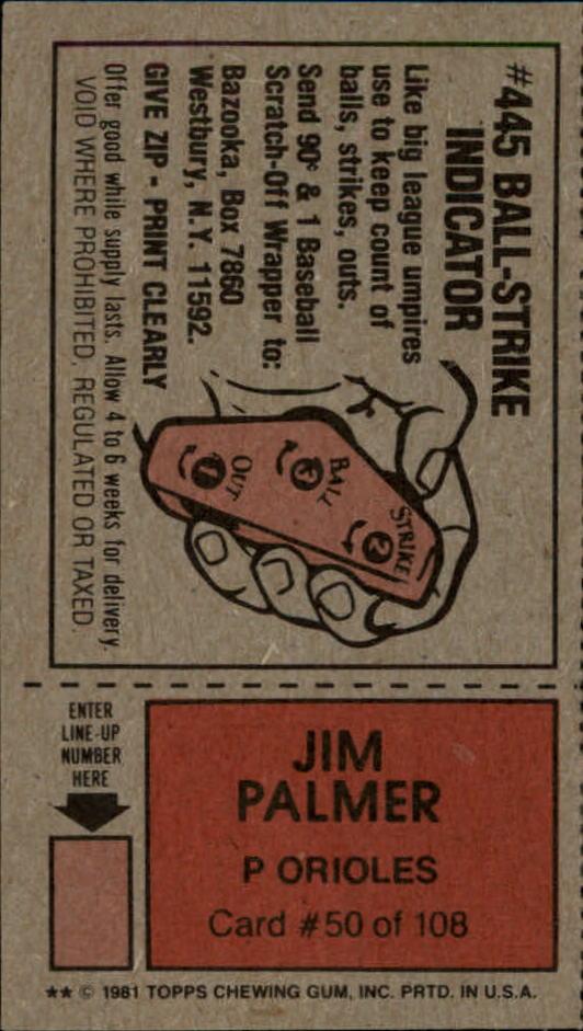 1981 Topps Scratchoffs #50a Jim Palmer BSI back image