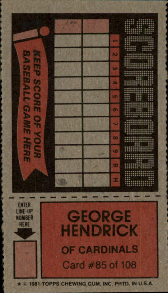 1981 Topps Scratchoffs #85 George Hendrick back image