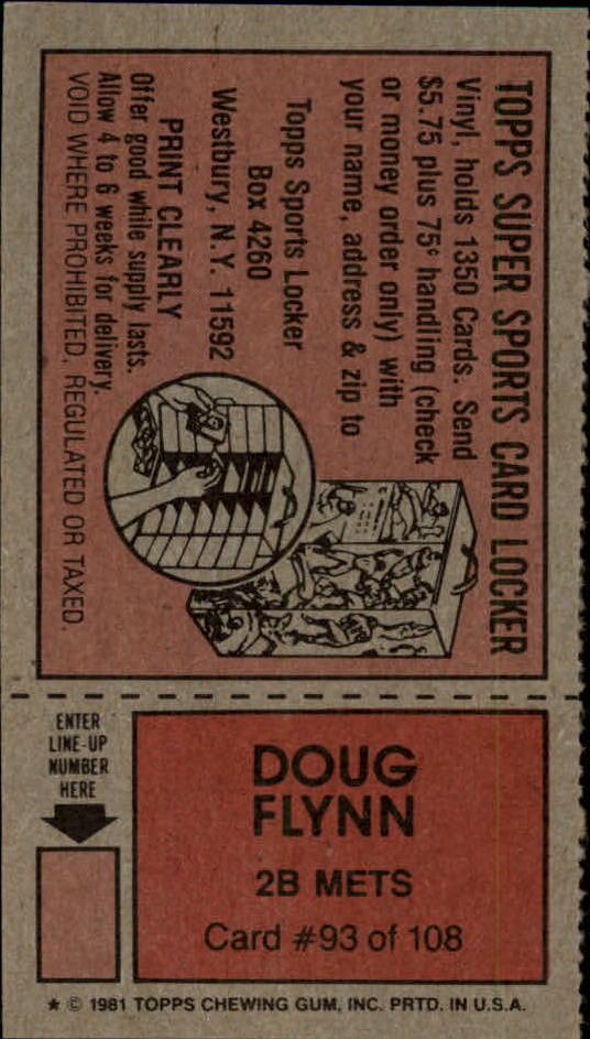 1981 Topps Scratchoffs #93a Doug Flynn Hat back image