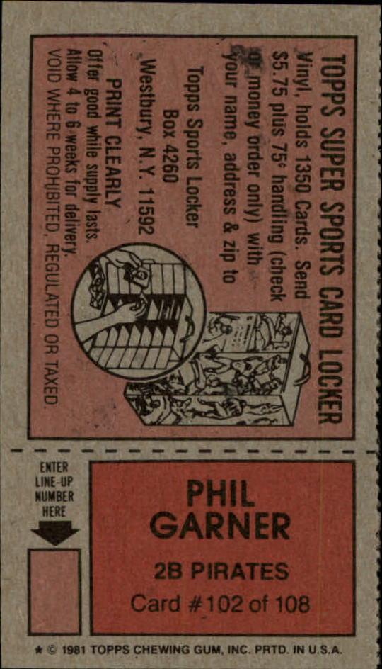 1981 Topps Scratchoffs #102a Phil Garner Hat back image
