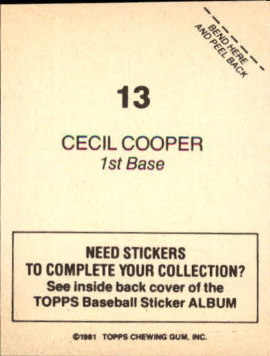 1981 Topps Stickers #13 Cecil Cooper back image