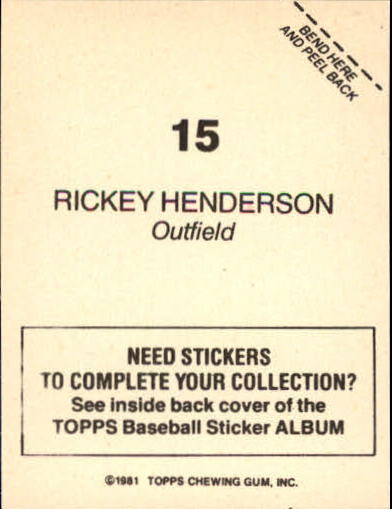 1981 Topps Stickers #15 Rickey Henderson back image