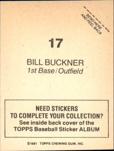 1981 Topps Stickers #17 Bill Buckner back image