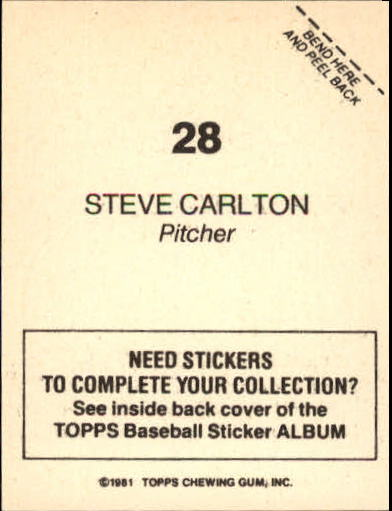 1981 Topps Stickers #28 Steve Carlton back image