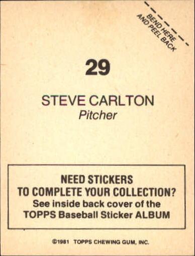 1981 Topps Stickers #29 Steve Carlton back image