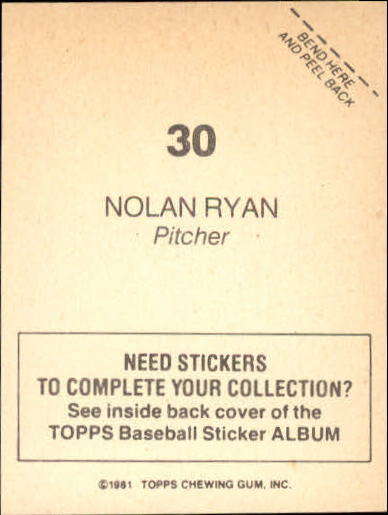 1981 Topps Stickers #30 Nolan Ryan back image