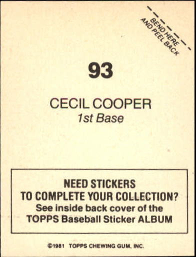 1981 Topps Stickers #93 Cecil Cooper back image