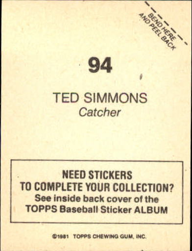 1981 Topps Stickers #94 Ted Simmons back image