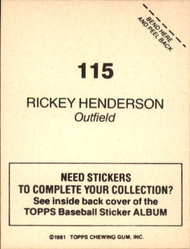 1981 Topps Stickers #115 Rickey Henderson back image
