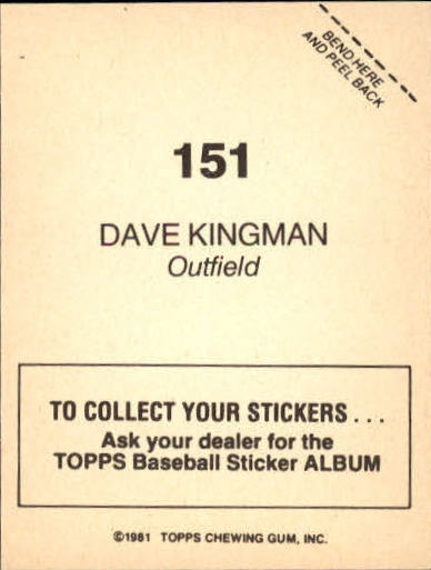 1981 Topps Stickers #151 Dave Kingman back image