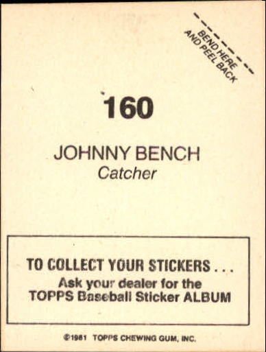 1981 Topps Stickers #160 Johnny Bench back image