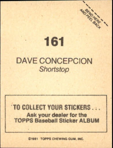 1981 Topps Stickers #161 Dave Concepcion back image