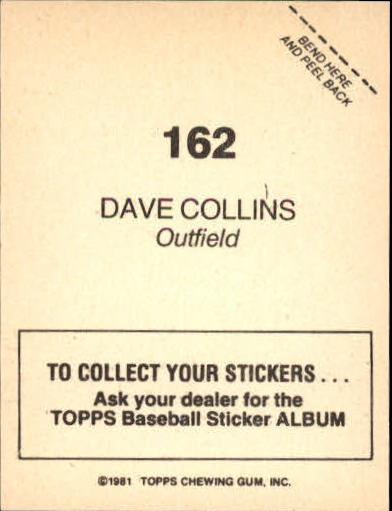 1981 Topps Stickers #162 Dave Collins back image