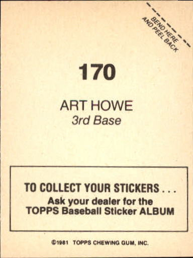 1981 Topps Stickers #170 Art Howe back image