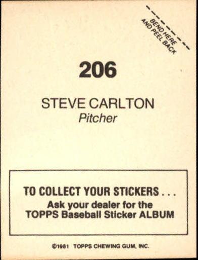 1981 Topps Stickers #206 Steve Carlton back image