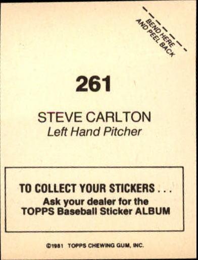 1981 Topps Stickers #261 Steve Carlton FOIL back image