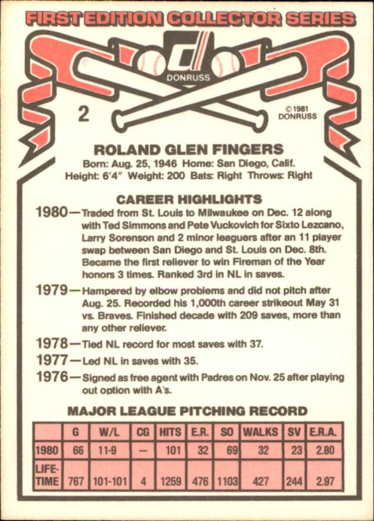 1981 Donruss #2 Rollie Fingers back image