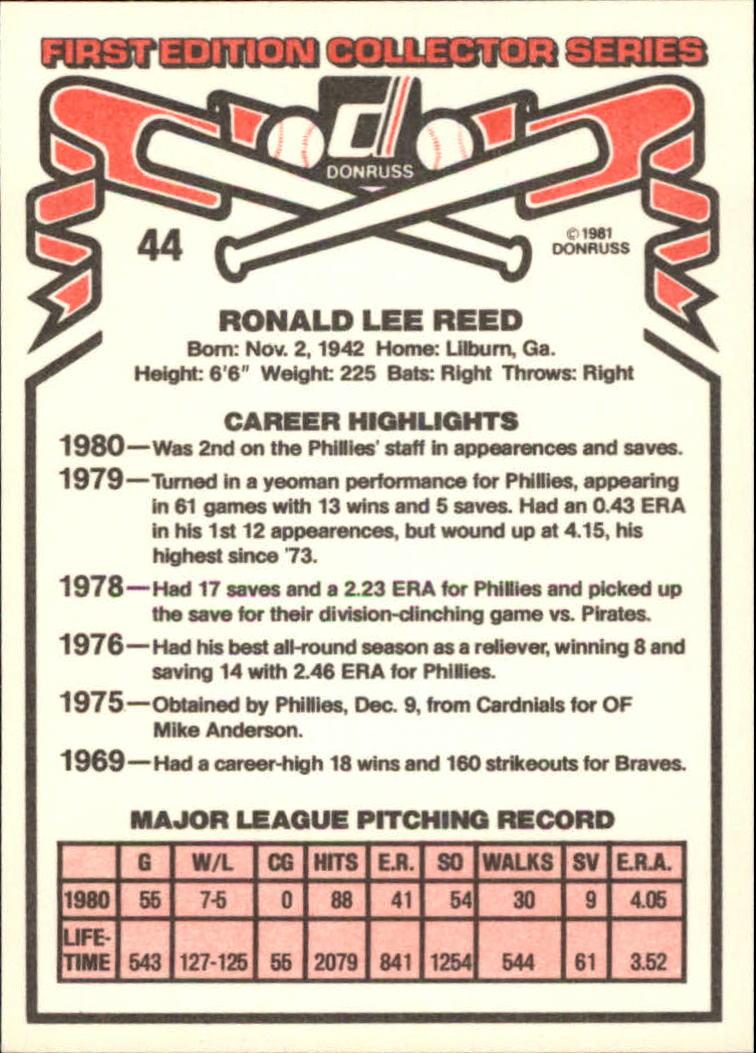 1981 Donruss #44 Ron Reed back image