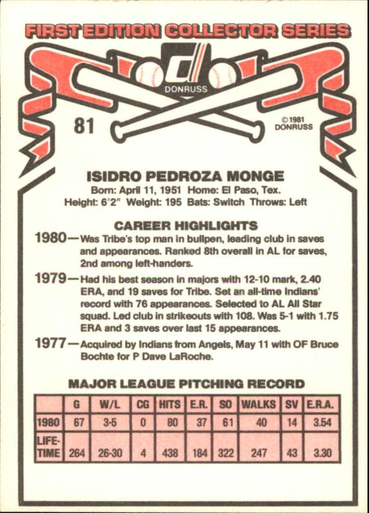 1981 Donruss #81 Sid Monge back image