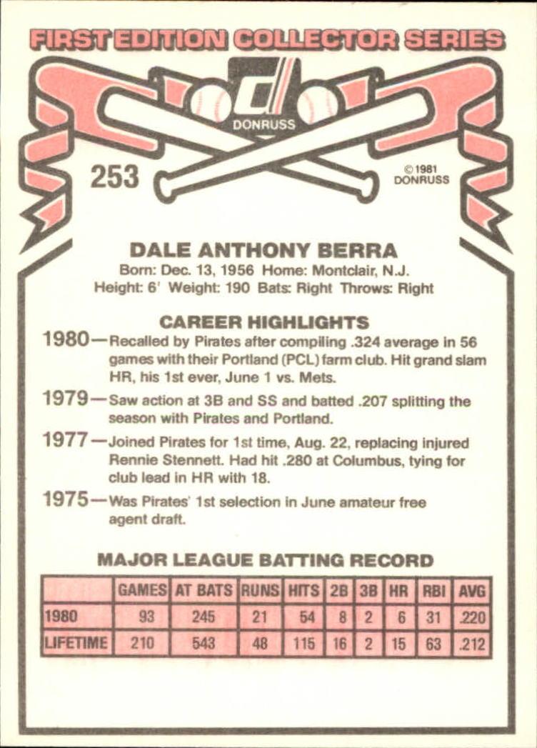 1981 Donruss #253 Dale Berra back image
