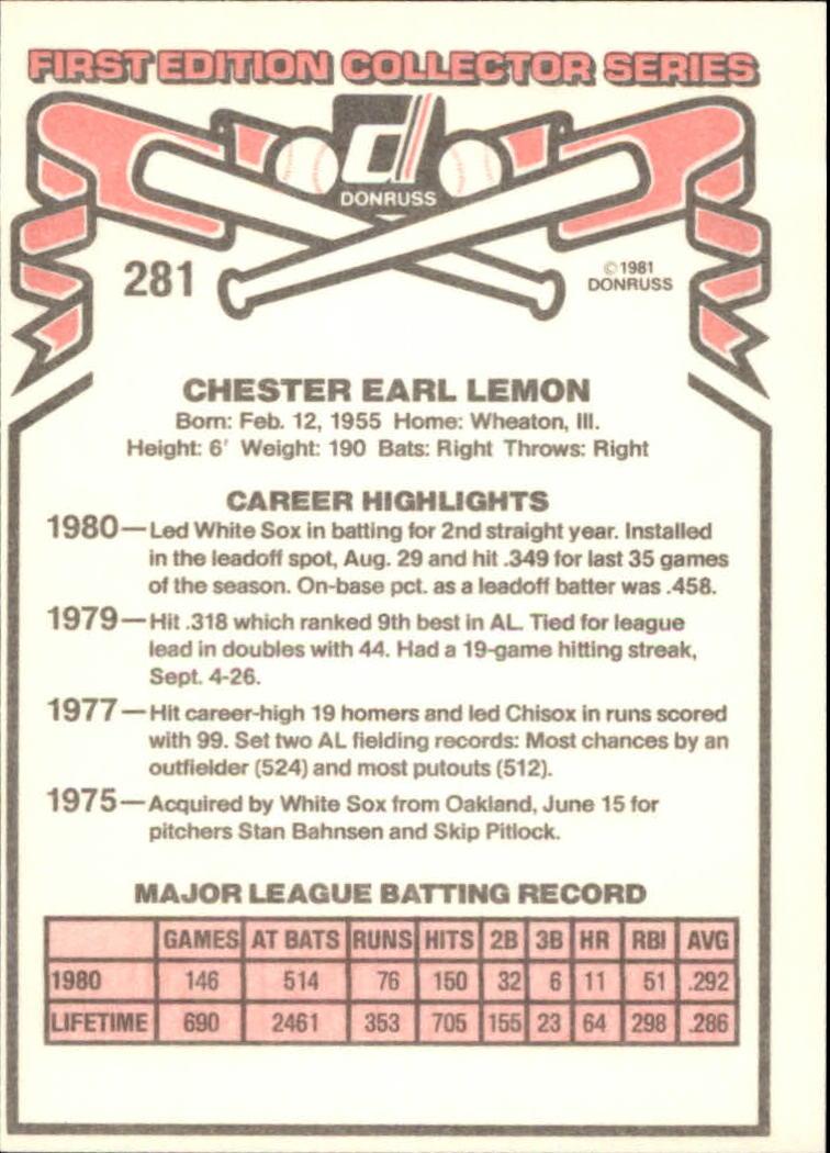 1981 Donruss #281 Chet Lemon back image