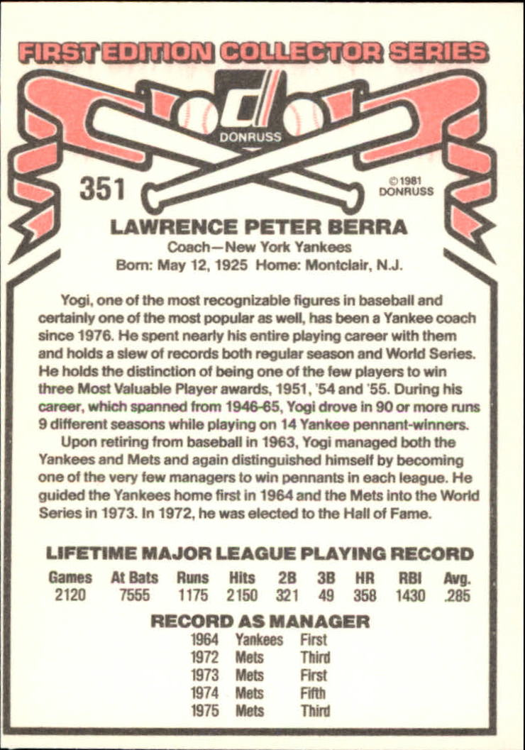 1981 Donruss #351 Yogi Berra CO back image
