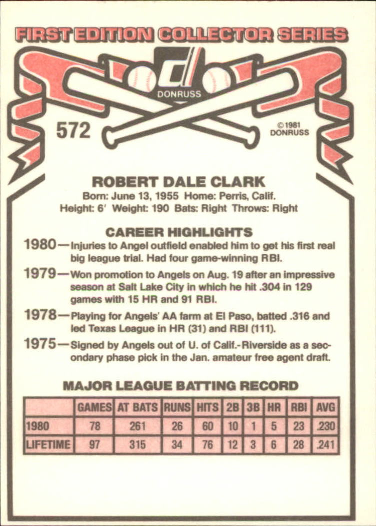 1981 Donruss #572 Bobby Clark back image