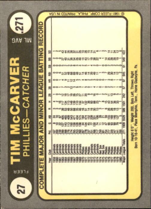 1981 Fleer #27 Tim McCarver back image