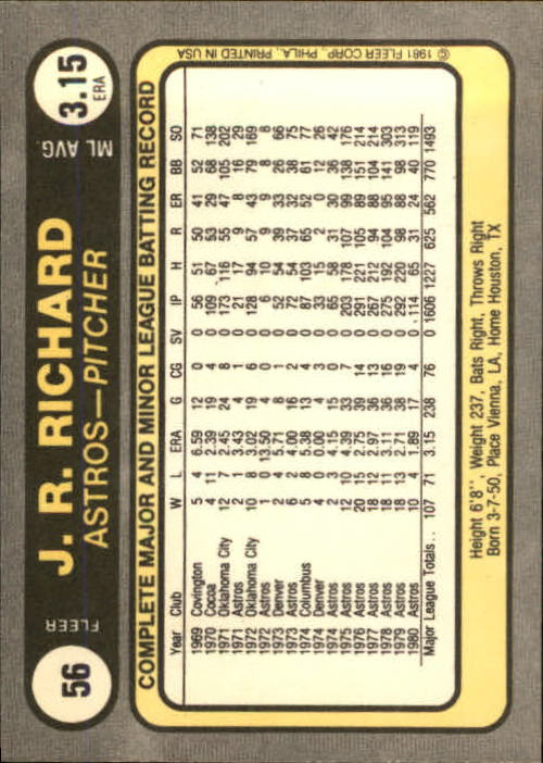 1981 Fleer #56 J.R. Richard back image