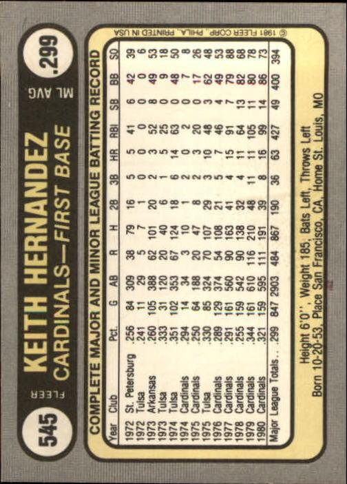 1981 Fleer #545 Keith Hernandez back image