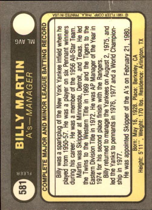 1981 Fleer #581 Billy Martin MG back image