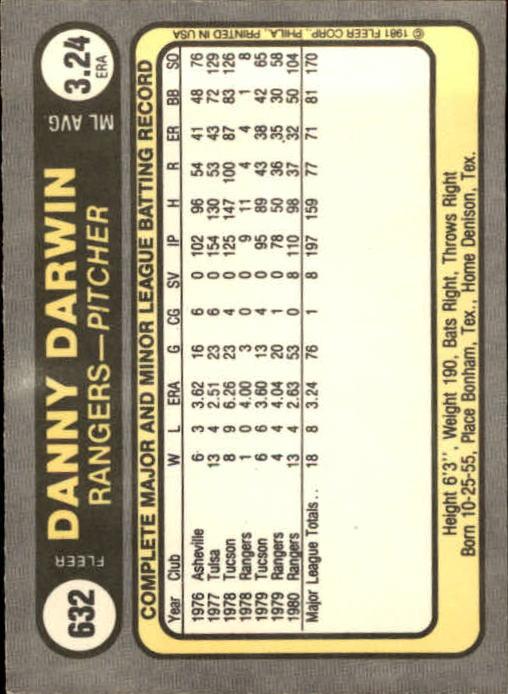 1981 Fleer #632 Danny Darwin back image