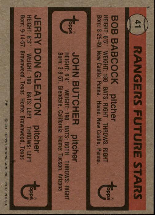 1981 Topps #41 Bob Bacock RC/John Butcher RC/Jerry Don Gleaton back image