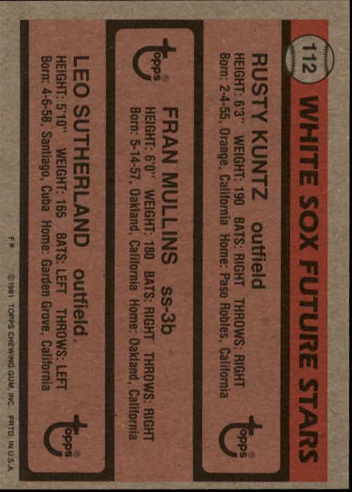 1981 Topps #112 Rusty Kuntz RC/Fran Mullins RC/Leo Sutherland RC back image